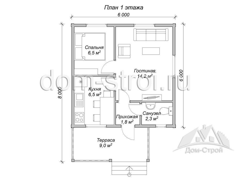 Дом 8х8 одноэтажный своими руками 39